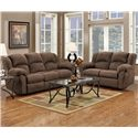Affordable Furniture 1000 Reclining Sofa with Pub-Back & Saddle Stitching - 1003 - Shown with Reclining Loveseat