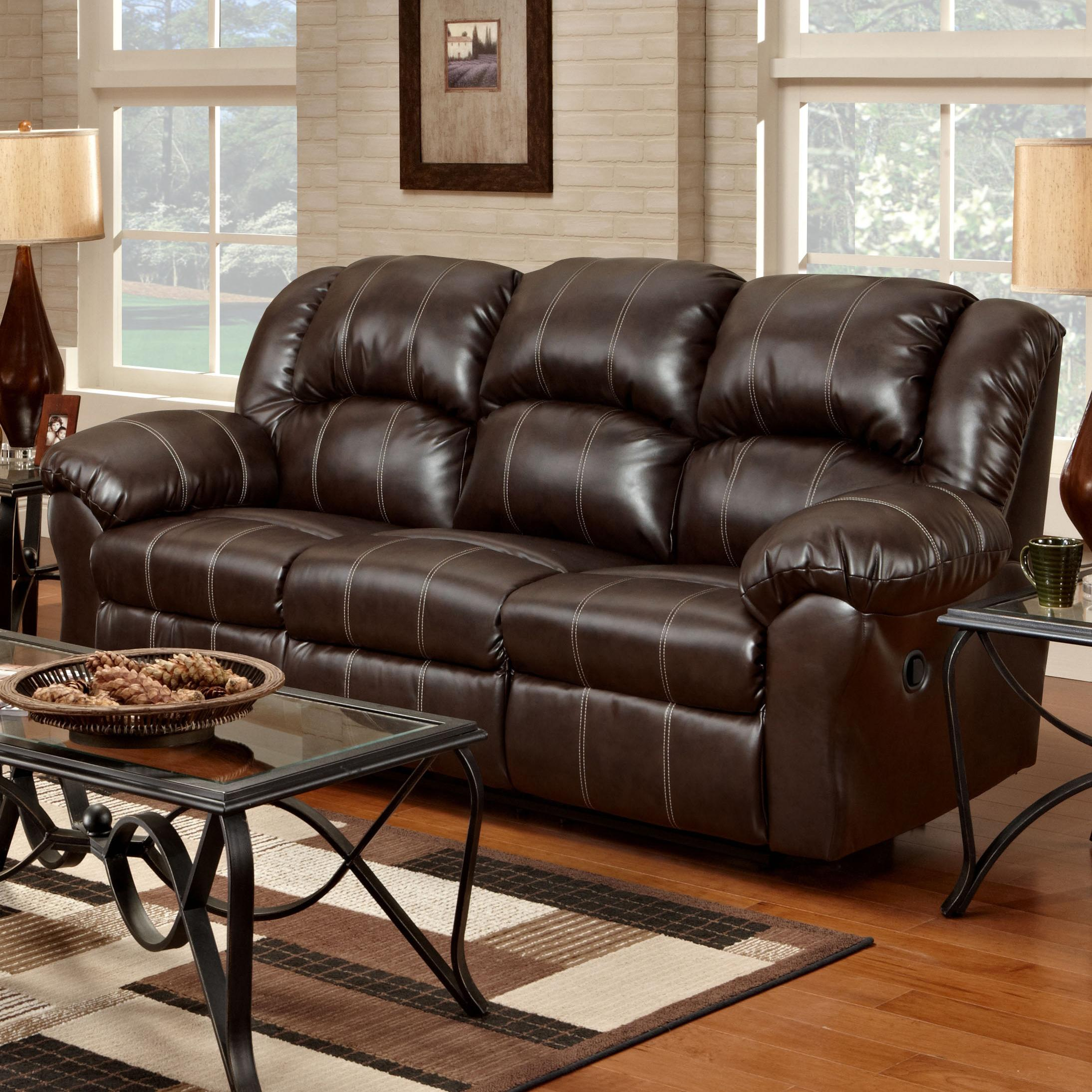 Affordable furniture 1000 reclining sofa with pub back saddle stitching