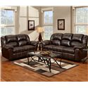 Affordable Furniture 1000 Reclining Sofa with Pub-Back & Saddle Stitching - Shown with Reclining Loveseat