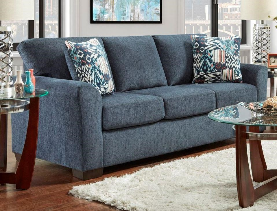 3330 Allure Navy Stationary Sofa by Affordable Furniture at Wilcox Furniture