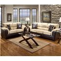 Affordable Furniture 6200 Fabric/Faux Leather Loveseat - 6202 - Shown with sofa