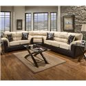 Affordable Furniture 6200 Fabric/Faux Leather Loveseat - 6202 - Shown as part of sectional