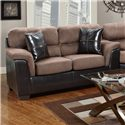 Affordable Furniture 6200 Fabric/Faux Leather Loveseat - 6202Choc