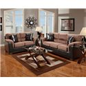 Affordable Furniture 6200 Fabric/Faux Leather Loveseat - 6202Choc - Shown with Sofa