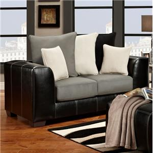 6300 Contemporary Two-Tone Track Arm Loveseat by Affordable Furniture