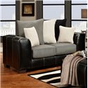 Affordable Furniture 6300 Contemporary Two-Tone Track Arm Loveseat - 6302