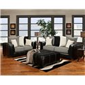 Affordable Furniture 6300 Contemporary Two-Tone Track Arm Loveseat - 6302 - Shown with Sofa and Party Ottoman