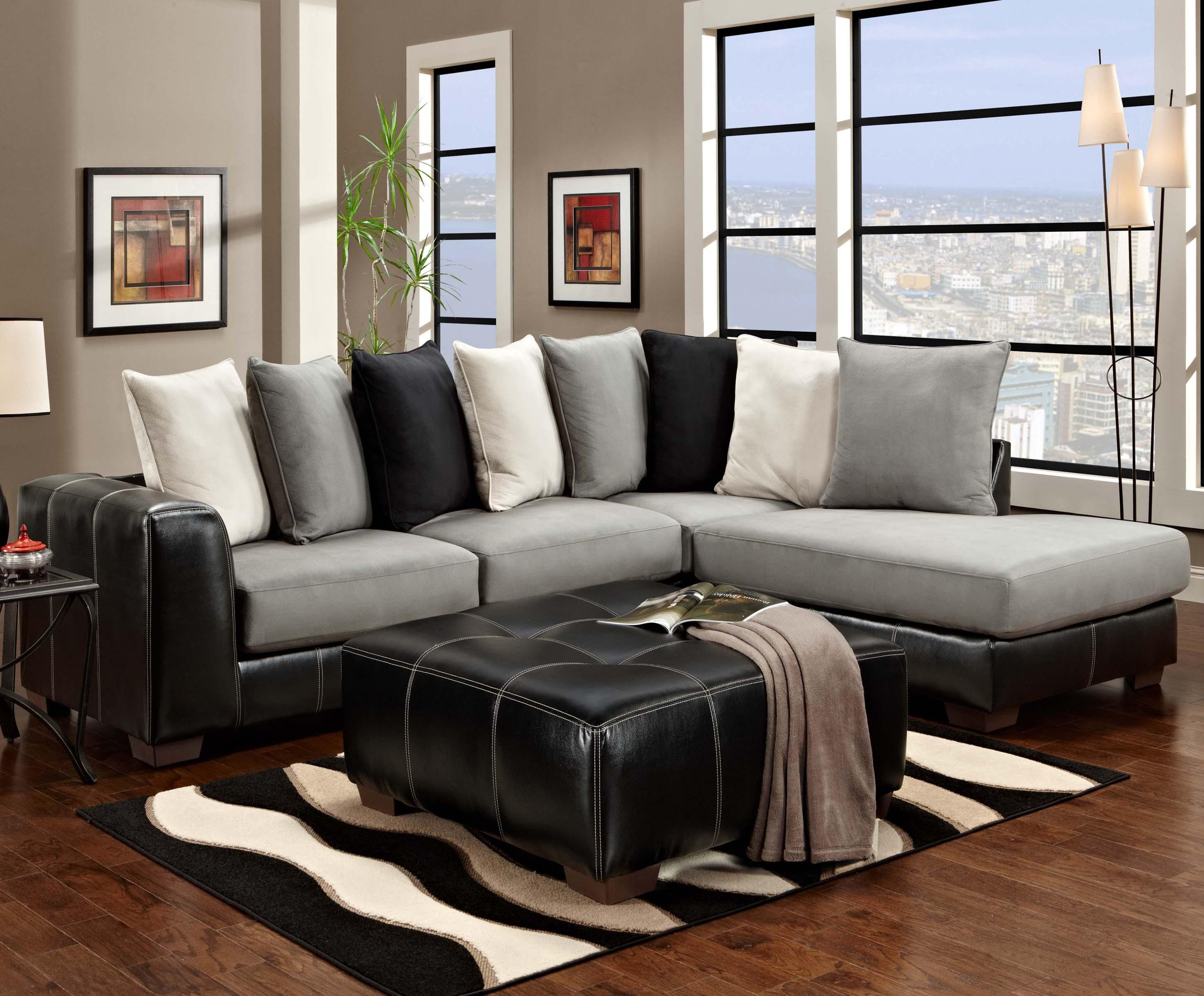 Affordable Furniture 6350 Two Piece Sectional - Item Number: 6351+6352 Idol Steel