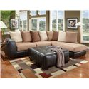 Affordable Furniture 6350 Two Piece Sectional with Chaise - 6351+6352 - Shown in Living Room with Ottoman