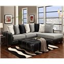 Affordable Furniture 6350 Party Upholstered Ottoman - Shown with Coordinating Collection Sectional