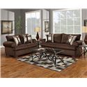 Affordable Furniture 6400 Loveseat with Rolled Arms - Shown with Coordinating Sofa