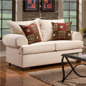 6400 Loveseat with Rolled Arms by Affordable Furniture