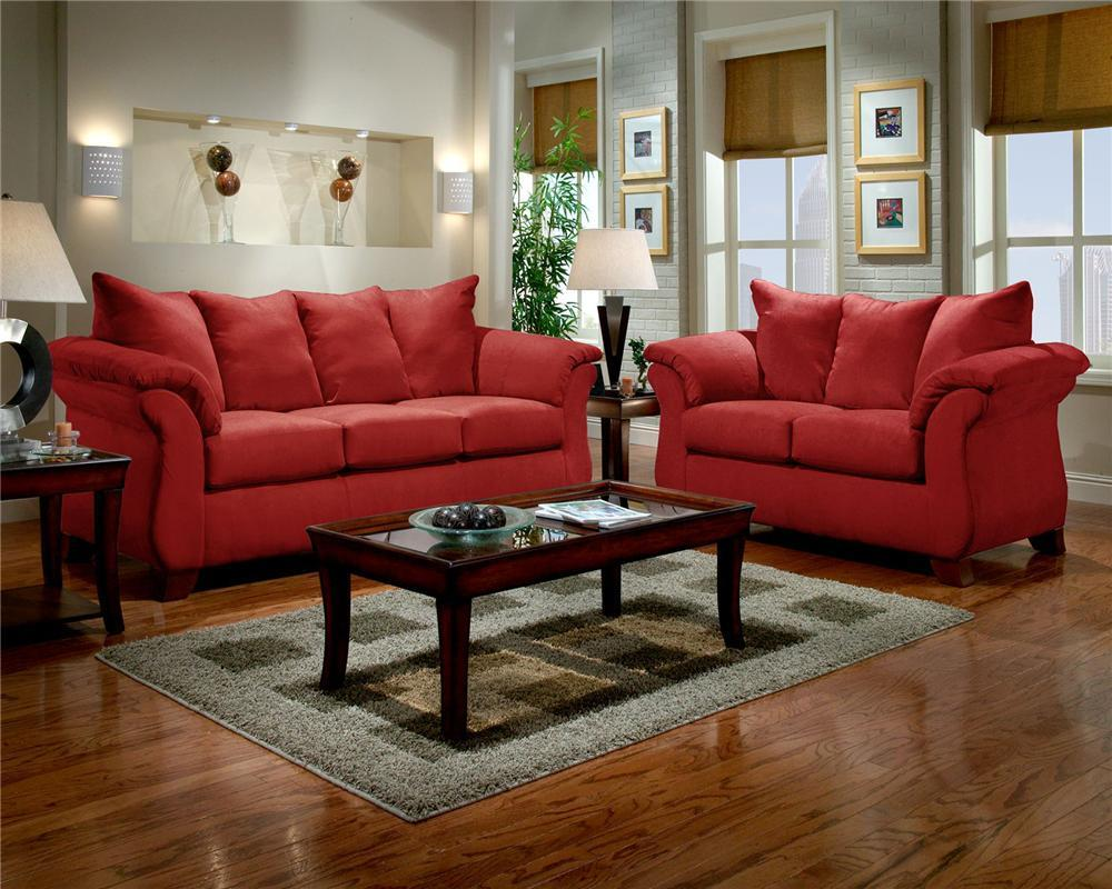 6700RED SOFA AND LOVESEAT