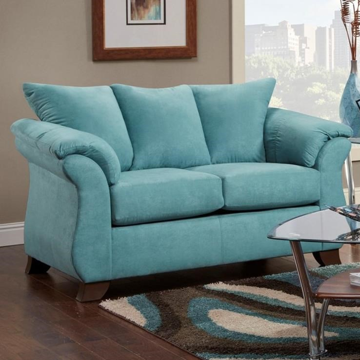 Small Affordable Furniture: Transitional Flared Pillow Arm Stationary Loveseat