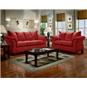 Affordable Furniture 6700 Transitional Flared Pillow Arm Stationary Loveseat - Shown in Living Room with Sofa