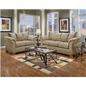 Affordable Furniture 6700 Three Seat Queen Size Sleeper Sofa - 6704 Camel - Shown with Coordinating Collection Loveseat. Sofa Shown May Not Represent Exact Features Indicated.