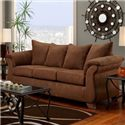 Affordable Furniture 6700 Transitional Flared Pillow Arm Stationary Sofa - 6703 Aruba Chocolate