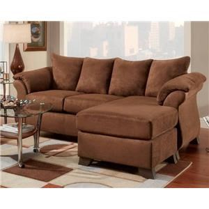 Affordable Furniture 6803 Aruba Chocolate Sofa with Chaise - 6803-ac