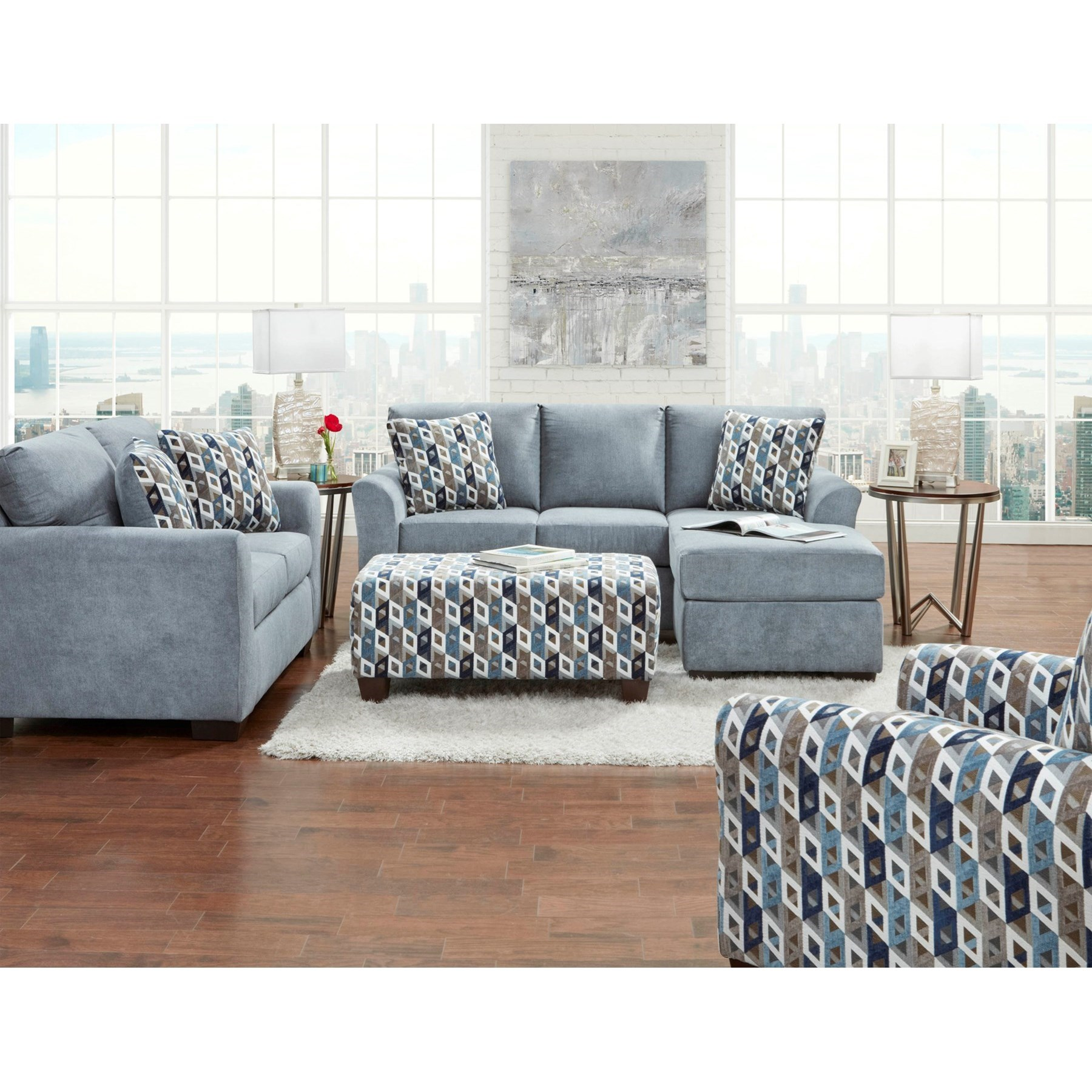 Transitional Sofa With Chaise And Flared Arms