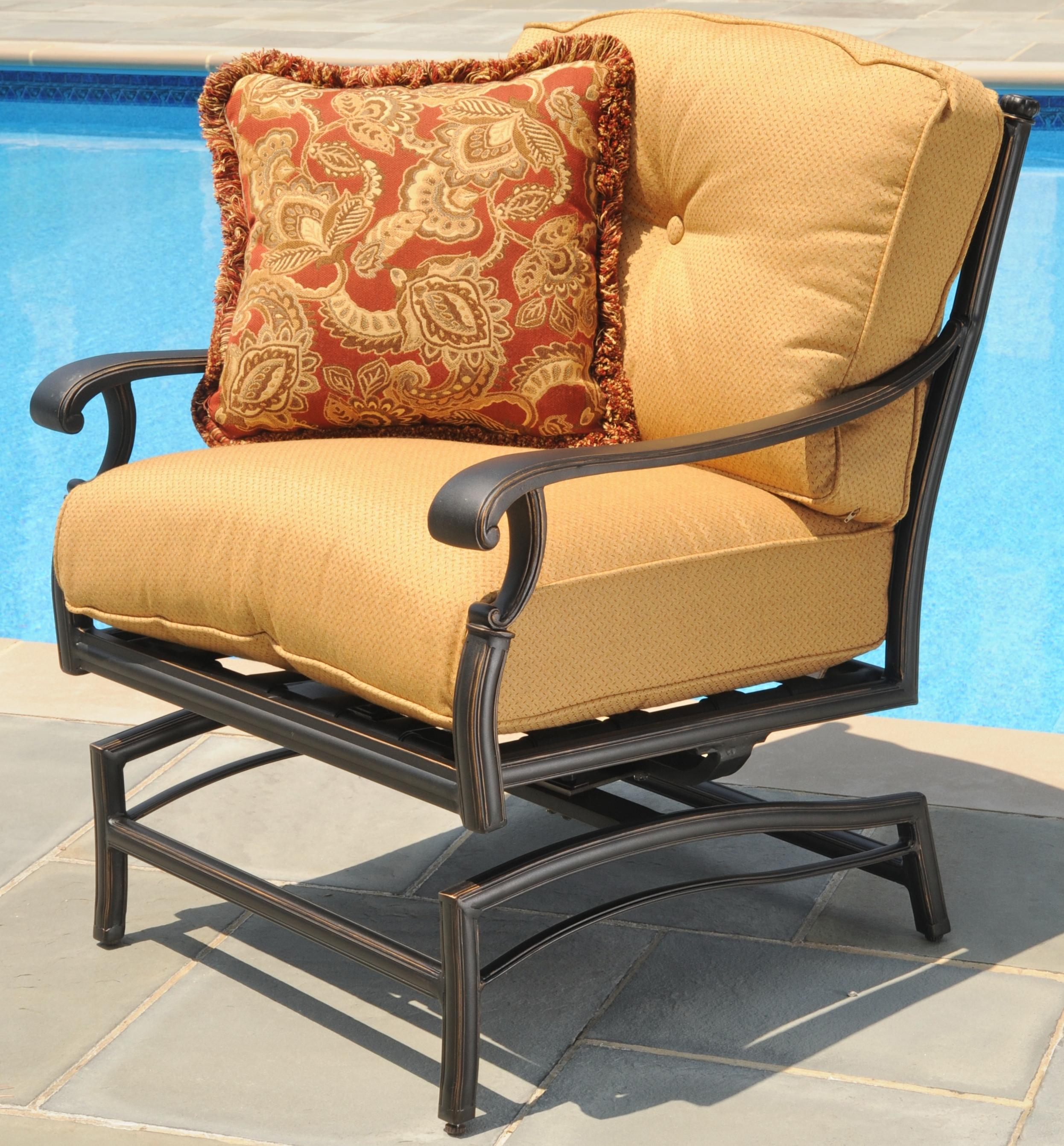 Amalfi Alumicast Outdoor Deep Seat Rocker Chair With One Decorative Throw  Pillow By Agio