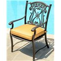 Agio Amalfi Outdoor Alumicast Dining Arm Chair with Sunbrella Fabric-Upholstered Cushion Seat - 50-150710-3871