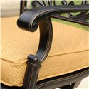 Agio Amalfi Outdoor Alumicast Swivel Rocker Chair with Sunbrella Fabric-Upholstered Removable Cushion Seat & Ornate Cast Back - 50-150711-3871 - Shapely Arms Offer Easy Relaxation