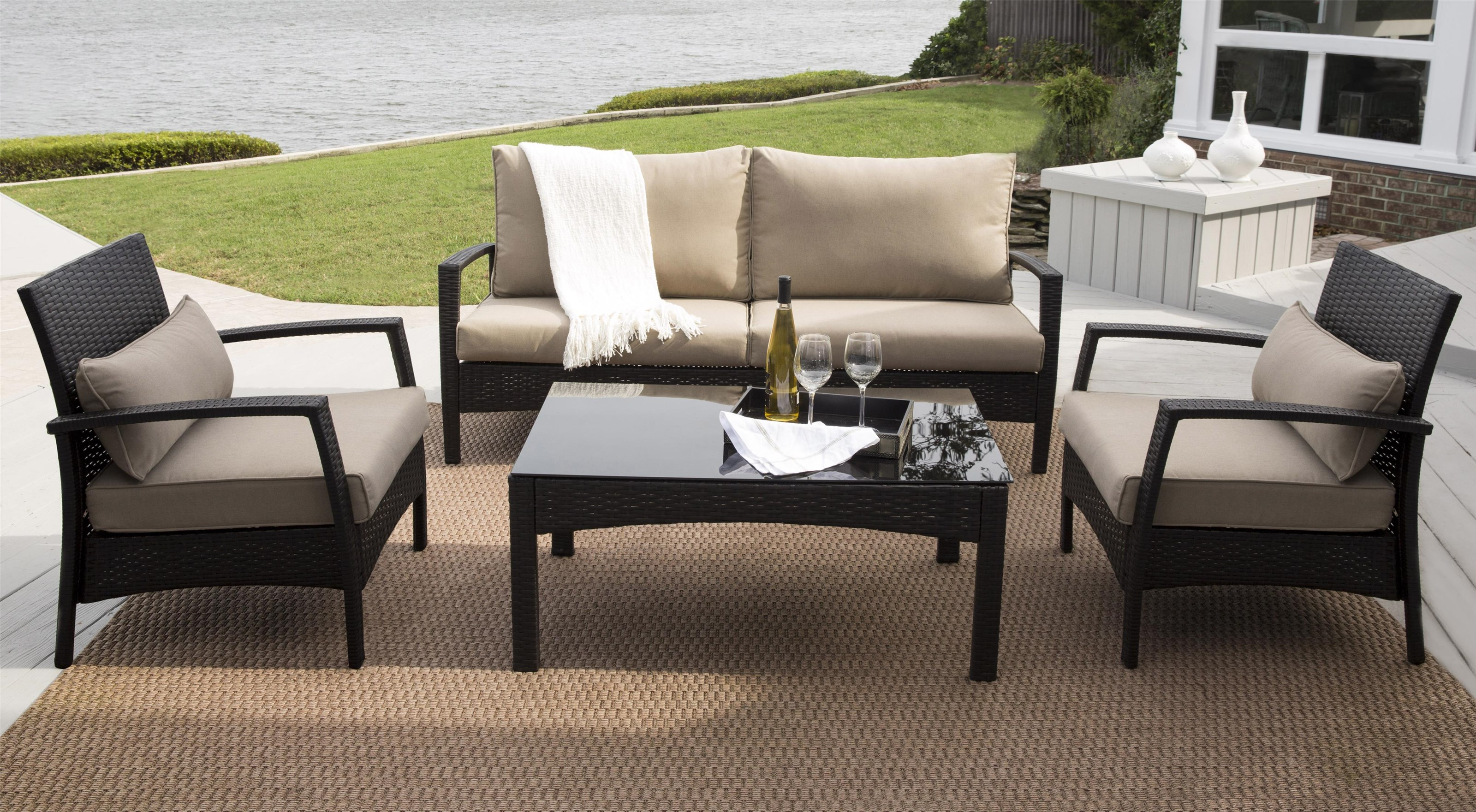 Morris Home Antigua Antigua Outdoor Sofa, 2 Chairs And Table - Item Number:  974341053