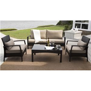 Morris Home Furnishings Antigua Antigua Outdoor Sofa, 2 Chairs and Table