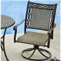 Agio Ashmost Cast Aluminum Sling Swivel Rocker with Woven Seat and Back Insert and Decorative Border - 0099026