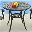"Agio Ashmost 3 Piece Sling Swivel Rocker Chair and Round Cast Aluminum Cafe Table Chat Set - 0102761 - 32"" Round Cafe Table"