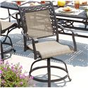 Agio Ashmost Cast Aluminum Sling Balcony Swivel Chair with Woven Seat and Back Insert Within a Decorative Border - 0107020