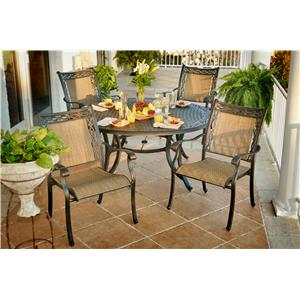 Apricity Outdoor Ashmost 5 Piece Sling Dining Chair and Round Cast Aluminum Table Dining Set