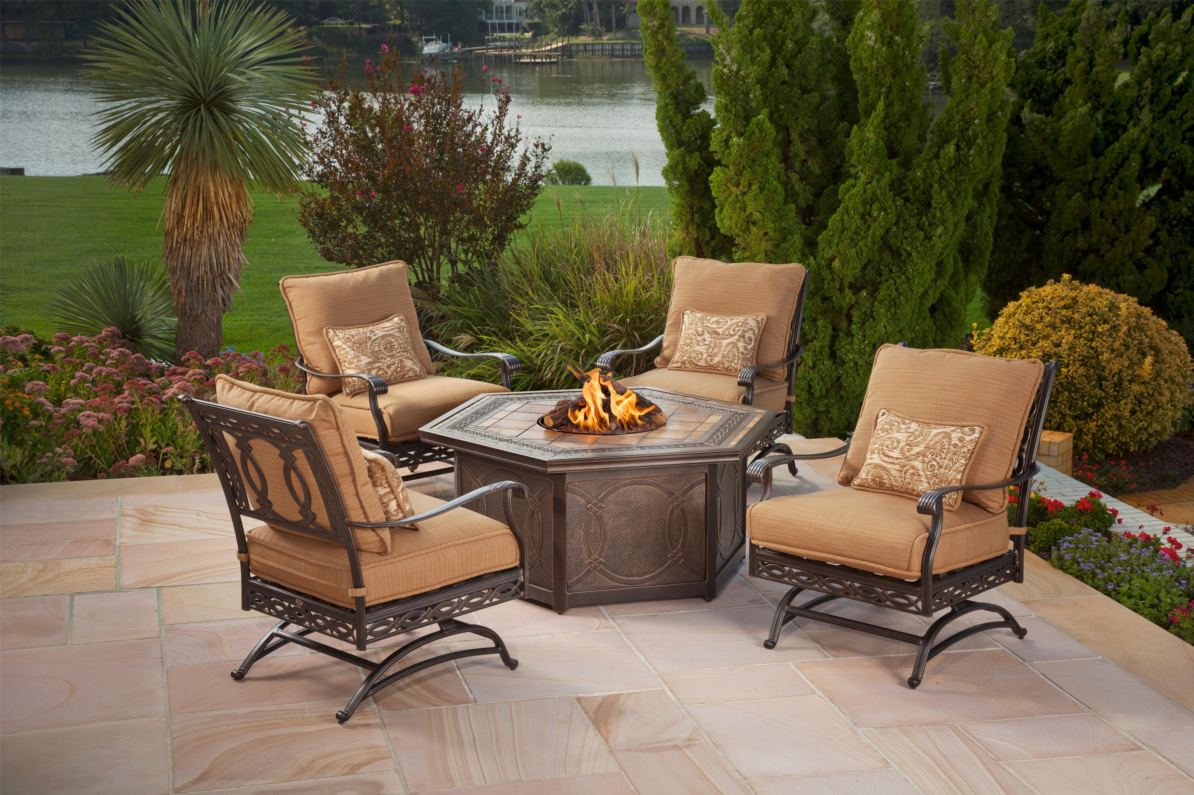 Agio Ashmost 5 Piece Spring Chair With Cushions And Firepit Chat Set   AHFA    Outdoor Conversation   Chat Set Dealer Locator