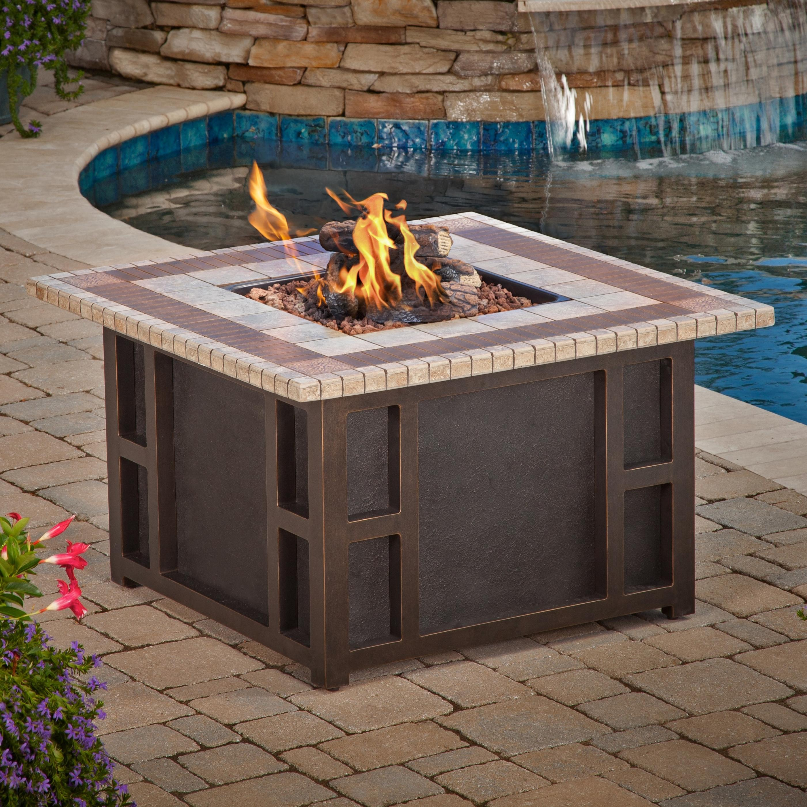 Agio Aurora Firepit Square Aluminum Frame Gas Fire Pit With Porcelain Top