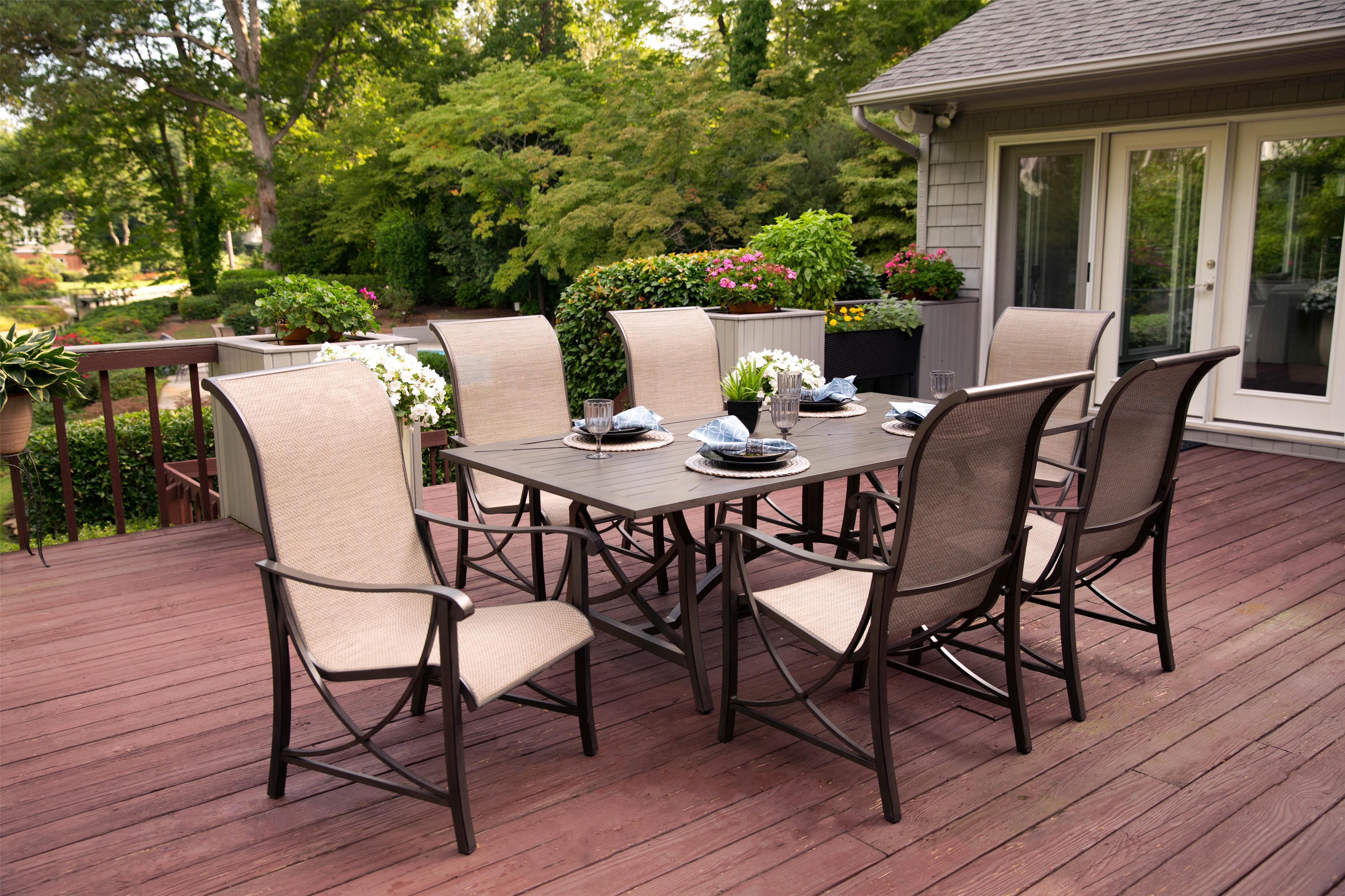 Agio Davenport 7Pc Outdoor Dining Set - Item Number: ALH42312P01+6xADH05700P01