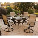 Agio Greenbrier Round Dining Table Set w/ Swivel Chairs - 8156666+4x8523180