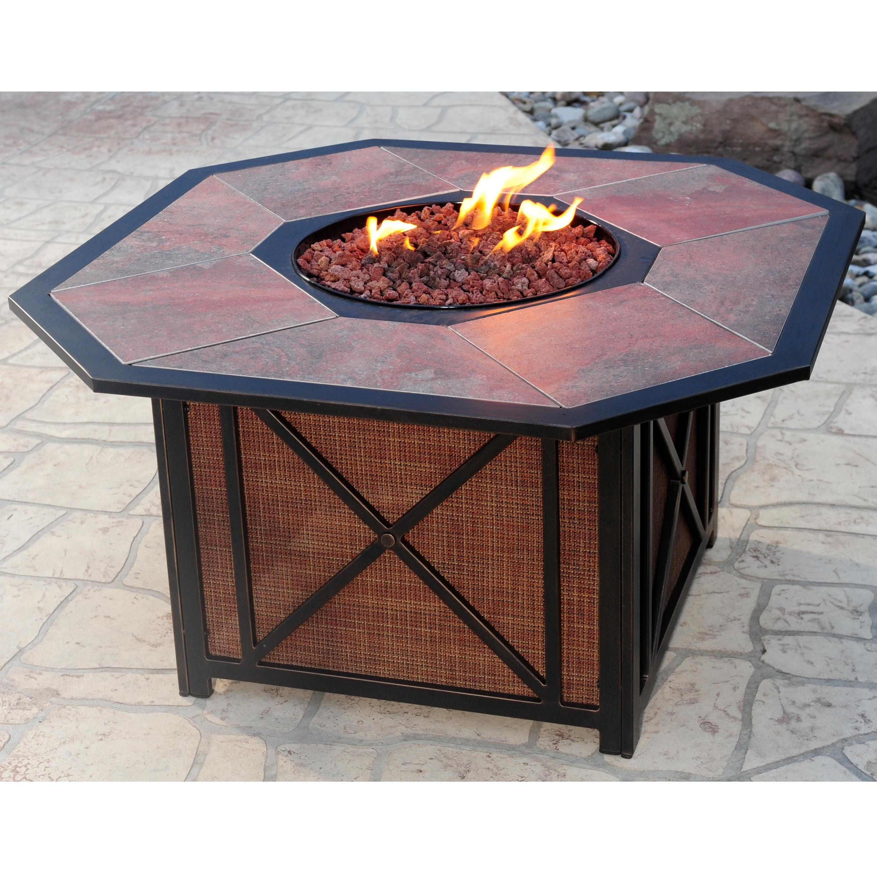 Marvelous Haywood Aluminum Gas Fire Pit With Inlaid Porcelain Tile Top By Agio