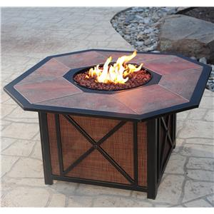 Agio Haywood Aluminum Gas Fire Pit with Inlaid Porcelain