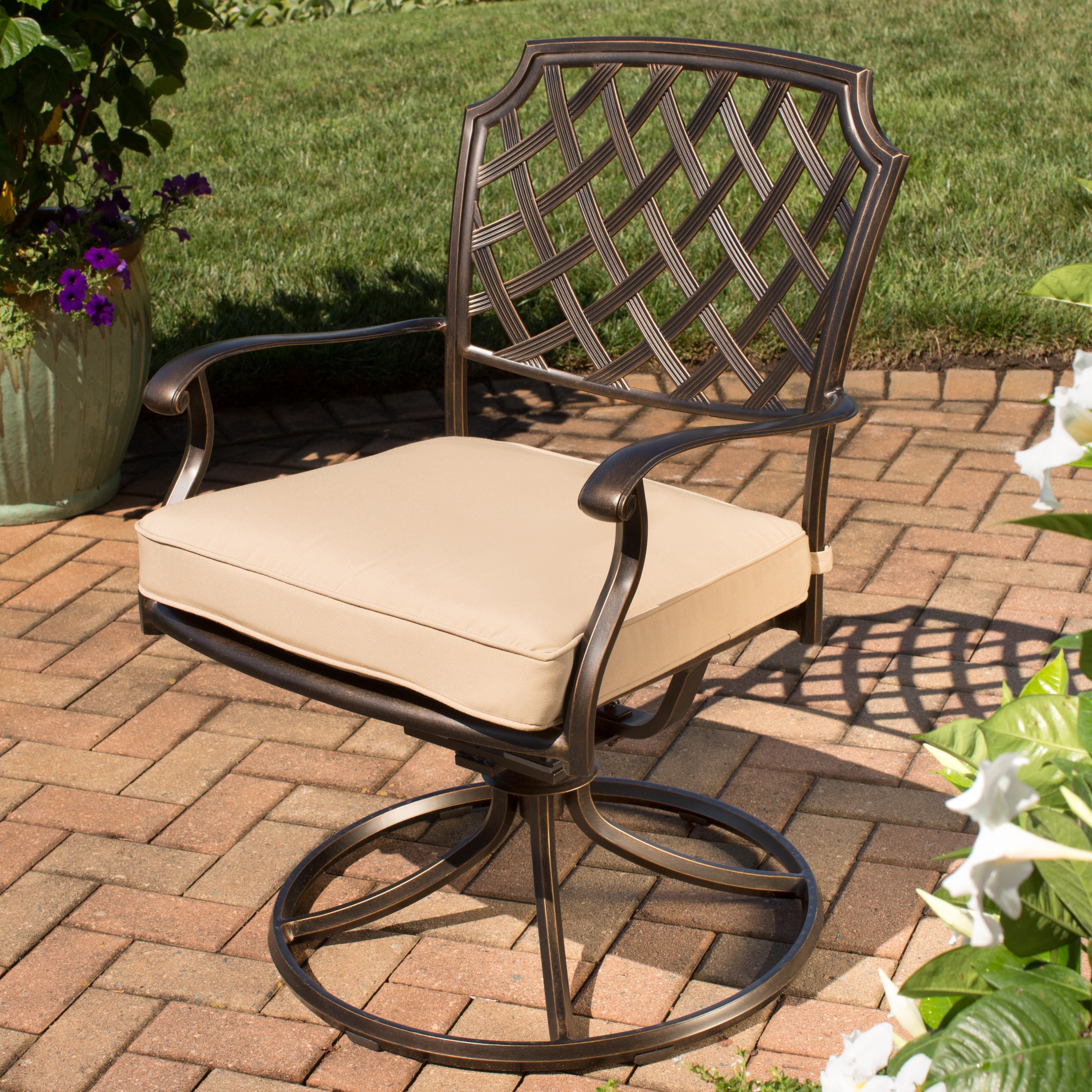 Agio Heritage Alumicast Outdoor Swivel Rocker Arm Chair Basket