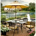 Agio Heritage 8-Piece Outdoor Dining Set with Alumicast Table and Chairs and Three Tier Umbrella - 663-38726+2x157591+4x157590+MK9061