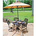 Agio Heritage 6-Piece Outdoor Dining Set with Round Alumicast Table and Chairs and Three Tier Umbrella - 663-48+2x157591+4x157590+MK9061