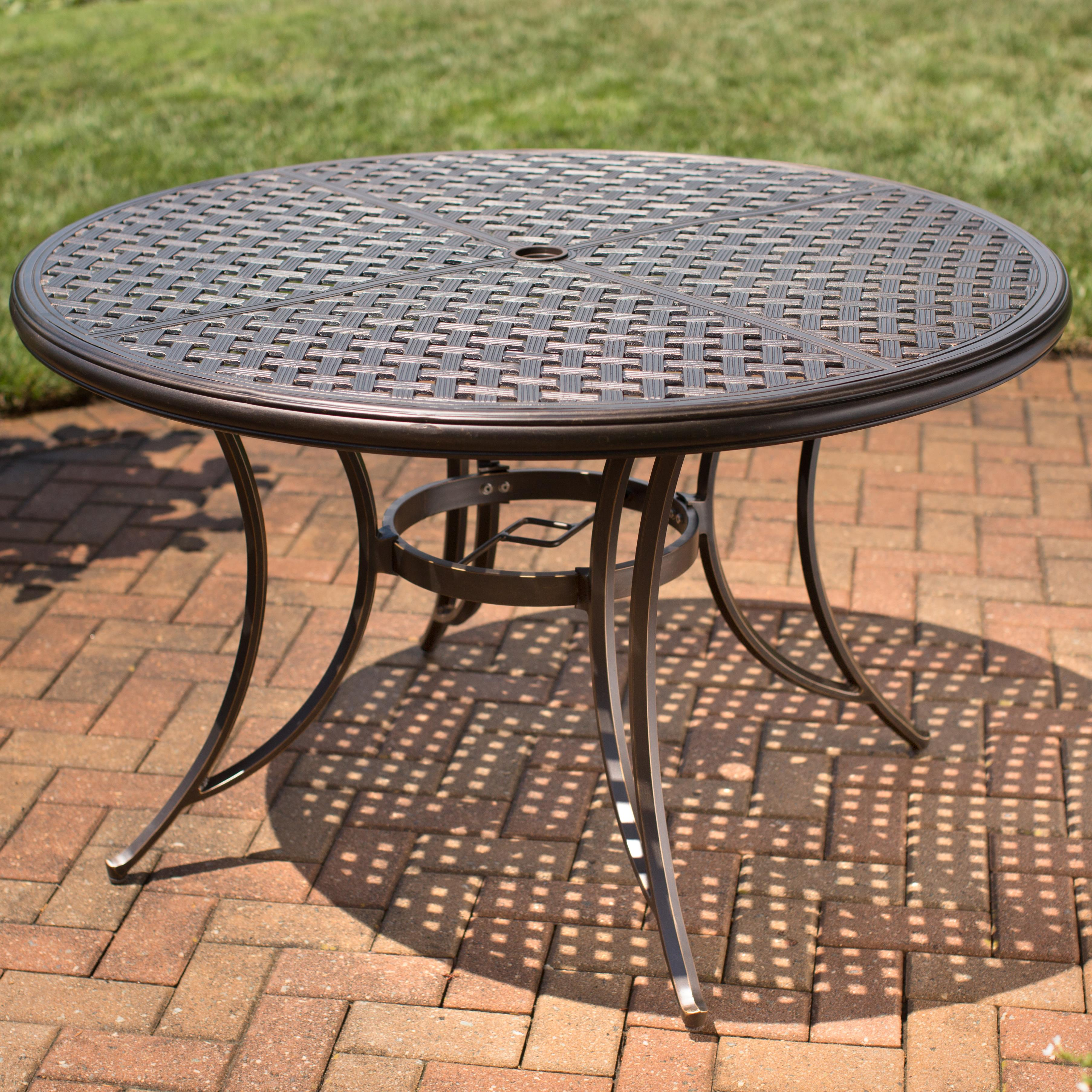 Incroyable Heritage Round Alumicast Outdoor Dining Table With Basket Weave Pattern And  Multi Step Hand Finish By Agio