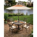 Apricity Outdoor Heritage Round Alumicast Outdoor Dining Table with Basket Weave Pattern and Multi-Step Hand Finish - 663-48-216-1