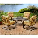 Agio Heritage 5-Piece Outdoor Chat Set with Alumicast Chairs and Fire Pit - 663F-48-216-5+4x50-10430-3103