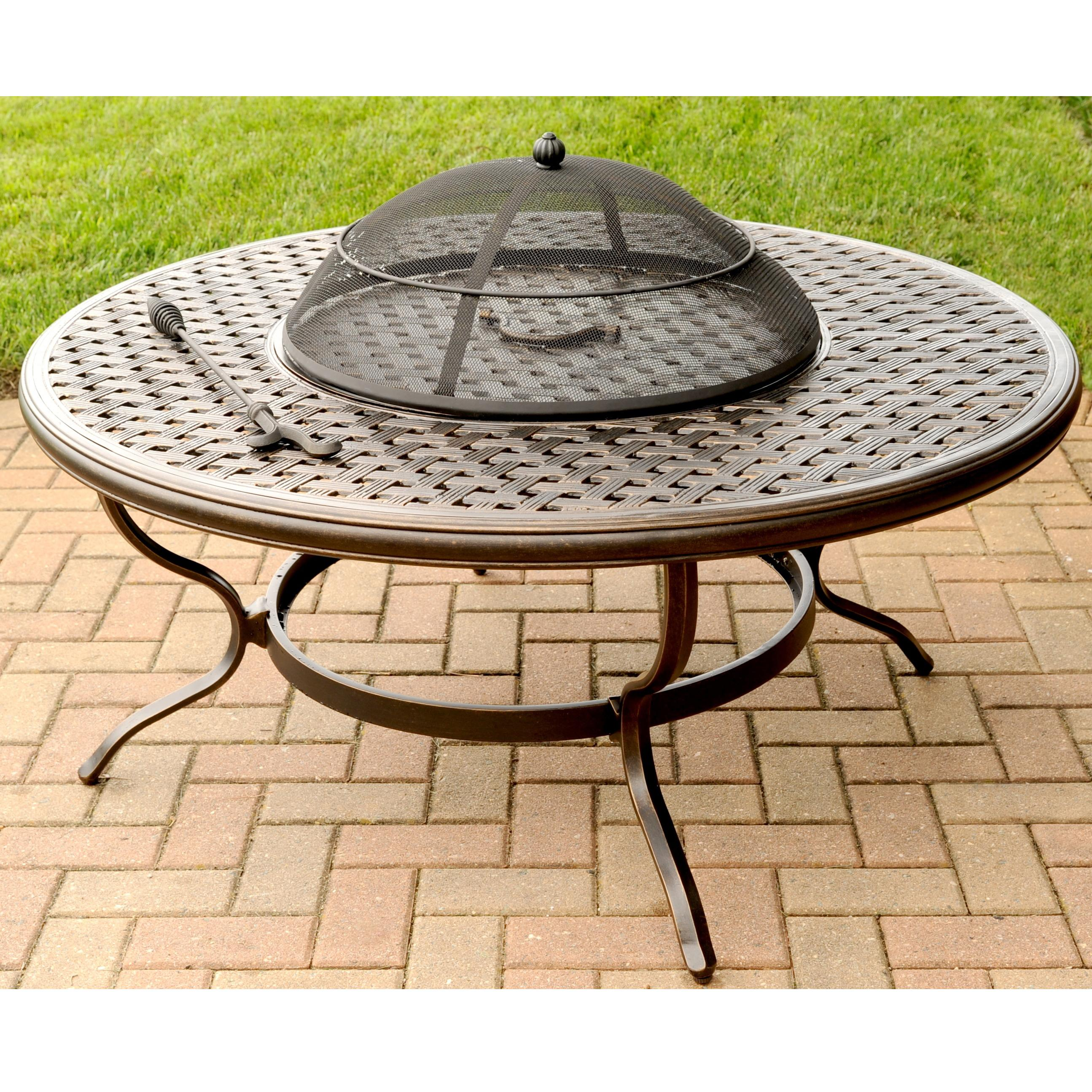 Agio Heritage Alumicast Outdoor Wood Fire Pit With Basket Weave Design
