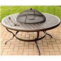 Agio Heritage Alumicast Outdoor Wood Fire Pit with Basket Weave Design - 663F-48-216-5