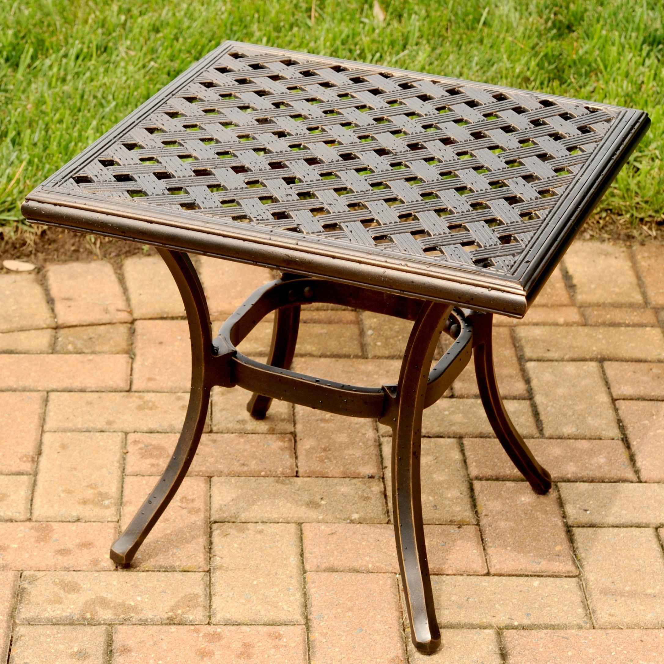 Agio Heritage Square Alumicast Outdoor End Table with Multi Step