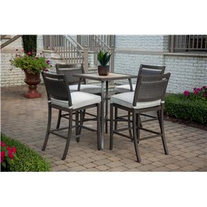 Agio Maddox Outdoor Bar Table and 4 Stool Set