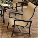 Agio Majorca 7 Piece Outdoor Dining Set with 4 Sling Dining Chairs and 2 Sling Swivel Rocker Chairs and 42