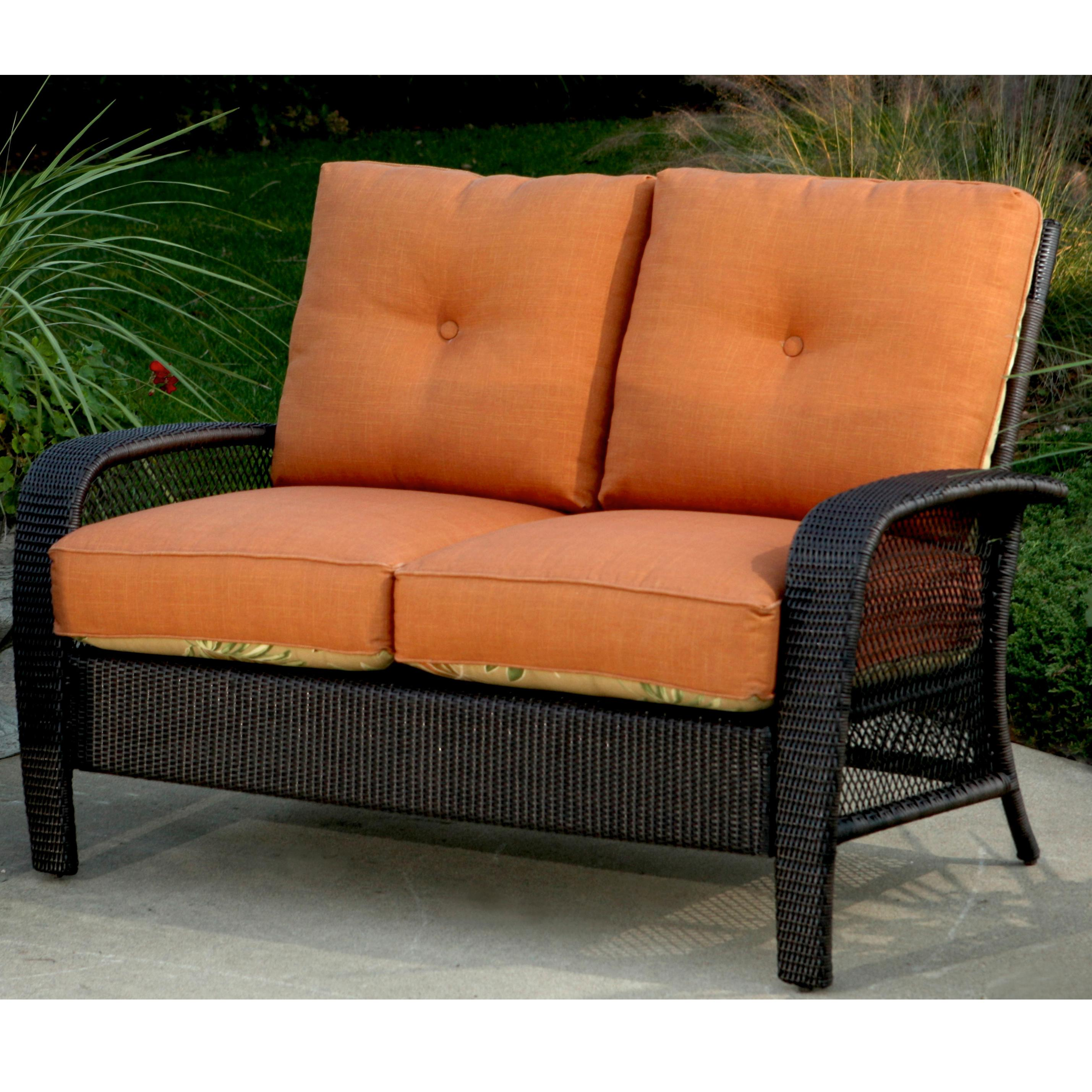 Agio Martinique Outdoor Wicker Loveseat with Interchangable Seat